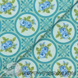 Ткань 100% хлопок Цветы на голубом