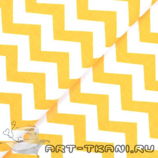 Хлопок бязь 0,5 м - желтый зигзаг