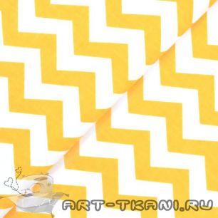 Хлопок бязь 0,5 м - желтый зигзаг Польша