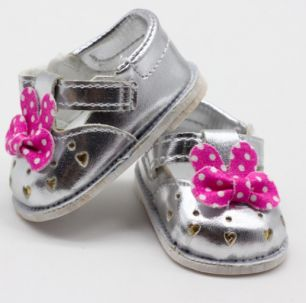 Обувь для кукол - сандалики серебряные с бантиком